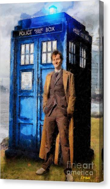 David Tennant As Doctor Who And Tardis Canvas Print