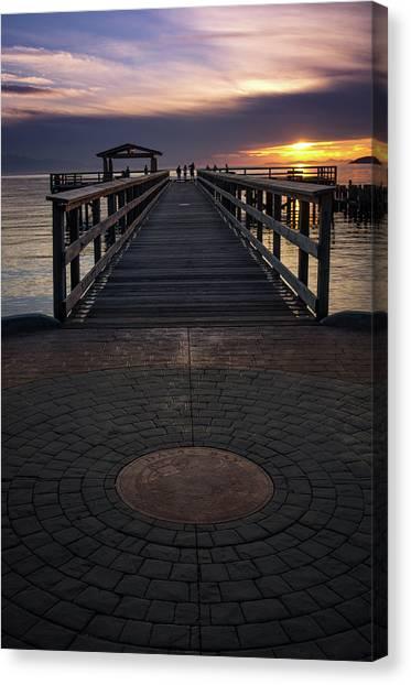 Davis Bay Pier Evening Light Canvas Print