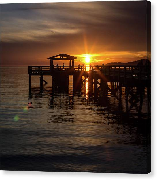 Davis Bay Pier Sunset Canvas Print