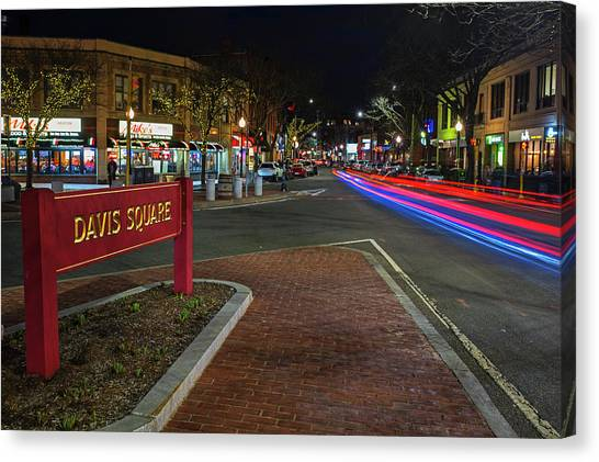 Davis Square Sign Somerville Ma Mikes Canvas Print