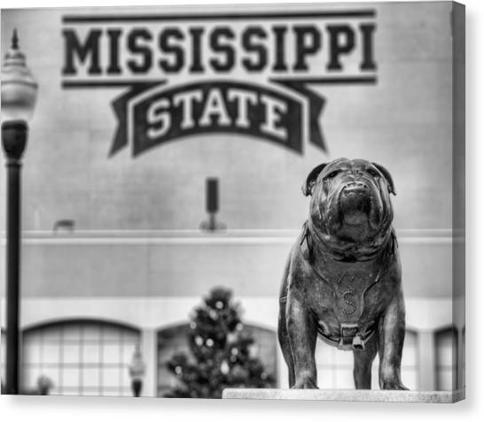 Mississippi State University Canvas Print - Davis Wade Stadium Black And White by JC Findley