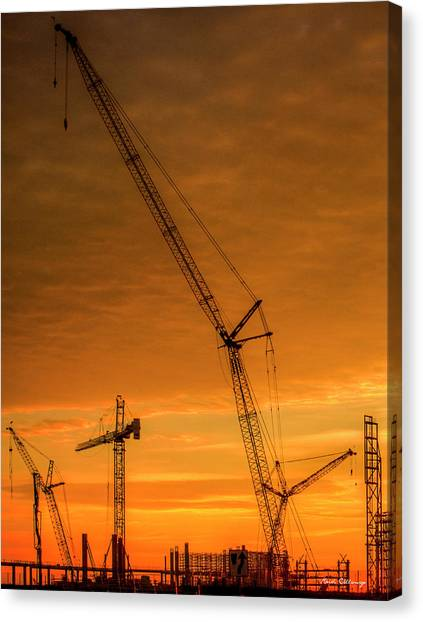 Atlanta Braves Canvas Print - Dawn And Cranes Crawler Cranes And Tower Crane Construction Art by Reid Callaway