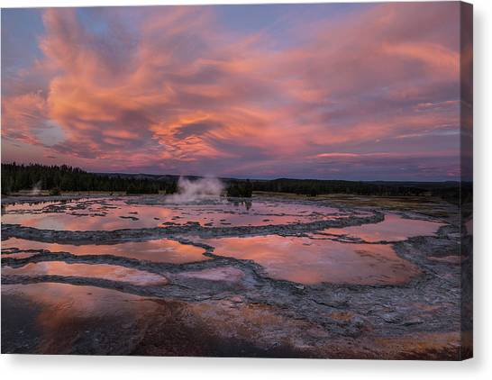 Dawn At Great Fountain Geyser Canvas Print