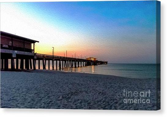 Dawn At Gulf Shores Pier Al Seascape 1283a Digital Painting Canvas Print