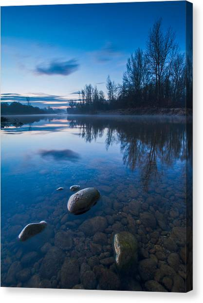 Blue Sky Canvas Print - Dawn At River by Davorin Mance
