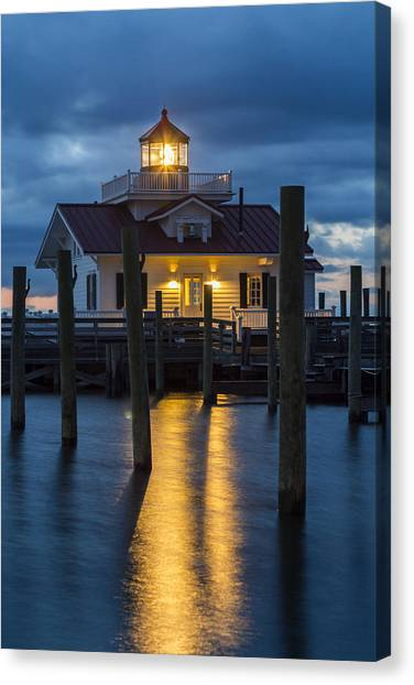 Dawn At Roanoke Marshes Lighthouse Canvas Print