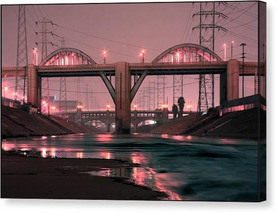 Dawn At The 6th Street Bridge Canvas Print by Kevin  Break