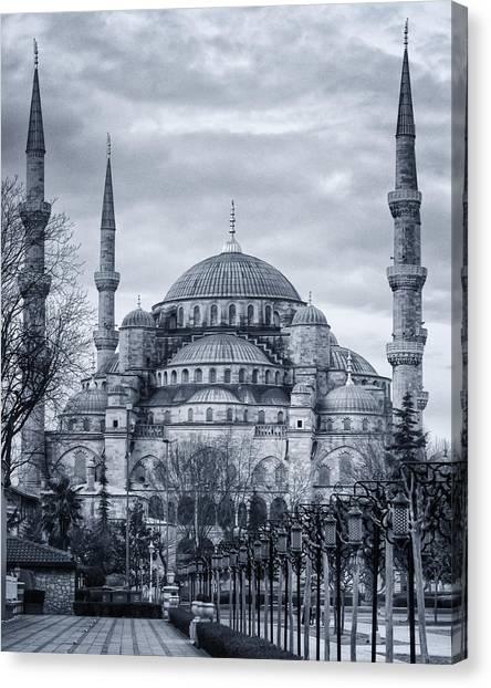 Suleymaniye Canvas Print - Dawn At The Blue Mosque by Joan Carroll