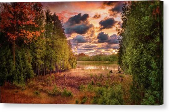 Dawn At The Lake Canvas Print