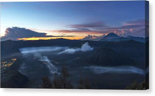 Canvas Print featuring the photograph Dawn Breaking Scene Of Mt Bromo by Pradeep Raja Prints