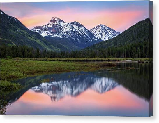 Uinta Canvas Print - Dawn Glow At Christmas Meadows. by Johnny Adolphson