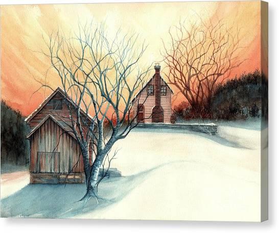 Dawn Has Spoken - Farmhouse Sunrise Canvas Print