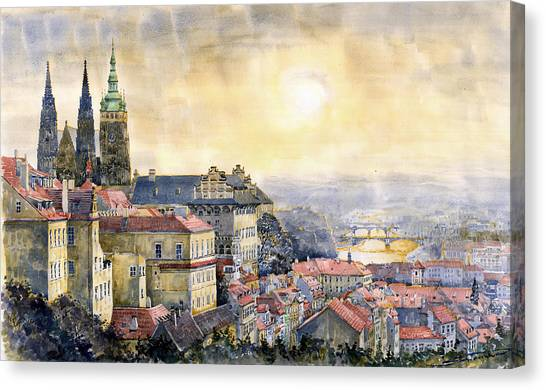 Cathedrals Canvas Print - Dawn Of Prague by Yuriy Shevchuk