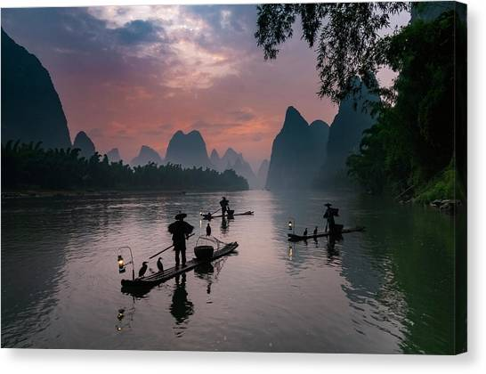 Waiting For Sunrise On Lee River. Canvas Print