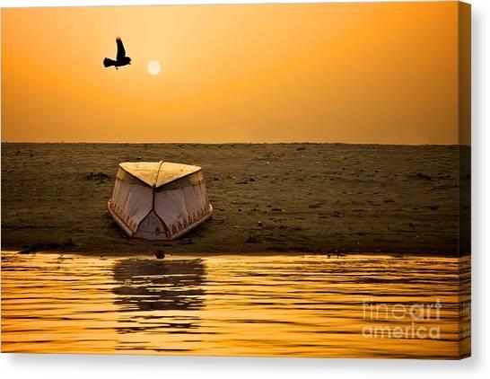 Dawn On The Ganga Canvas Print