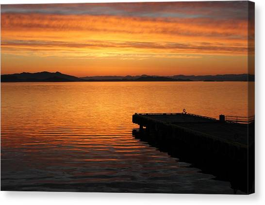 Dawn On The Water At Dusavik Canvas Print