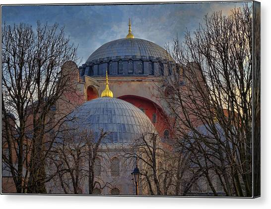 Byzantine Art Canvas Print - Dawn Over Hagia Sophia by Joan Carroll