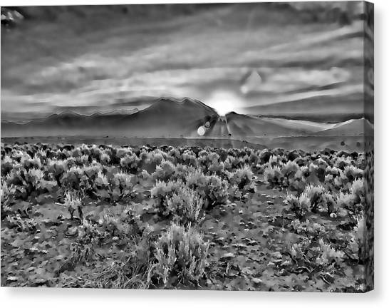 Dawn Over Magic Taos In B-w Canvas Print
