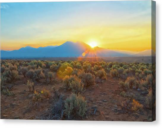 Dawn Over Magic Taos Mountain Canvas Print