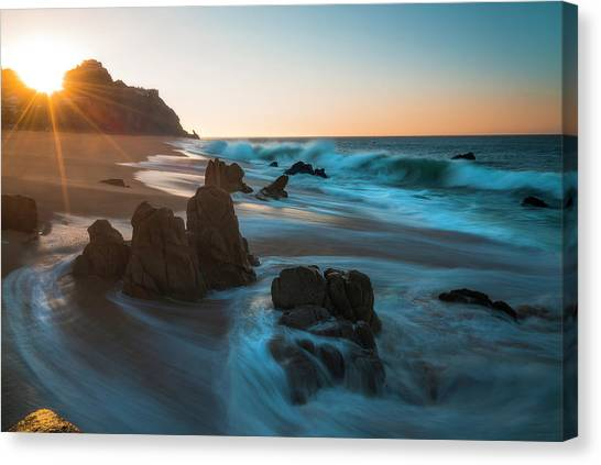 Canvas Print featuring the photograph Dawn Over The Cliffs by Owen Weber