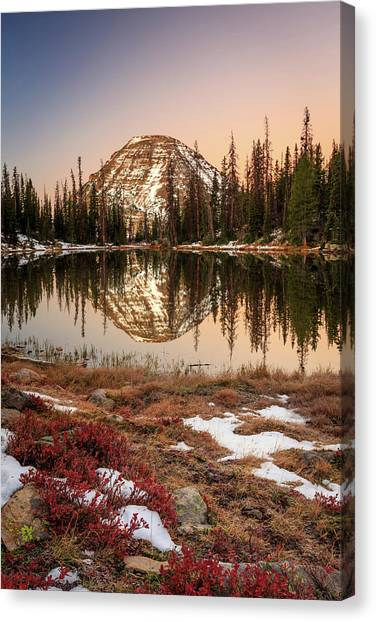 Uinta Canvas Print - Dawn Reflection In The Uinta Mountains. by Johnny Adolphson
