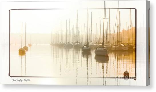 Dawn Reflections - Yachts At Anchor On The River Canvas Print
