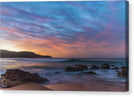 Dawn Seascape With Rocks And Clouds Canvas Print