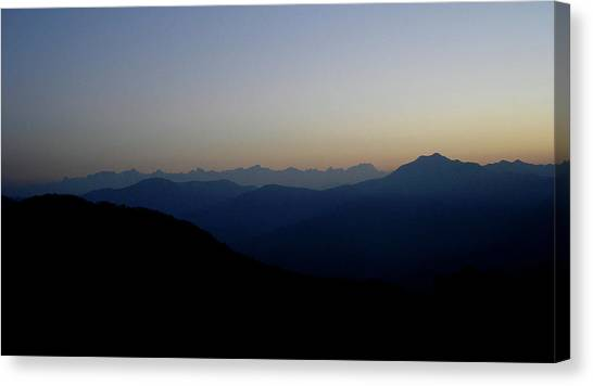 Hinduism Canvas Print - Dawn View Of The Garhwal Himalayas From Kunjapuri Temple, India by Misentropy