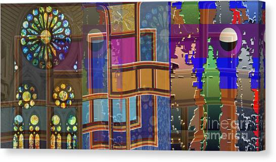 Day And Night Collage Photography Abstract Art From Church Walls Moon Hightide N Graphic Window View Canvas Print