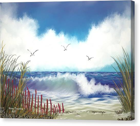 Day At The Beach Canvas Print by Harry Dusenberg