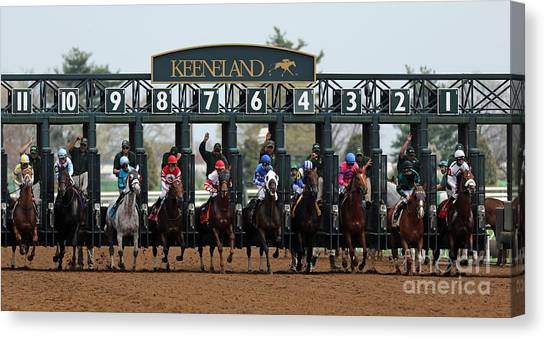 Thoroughbreds Canvas Print - Keeneland Race Day by Angela G