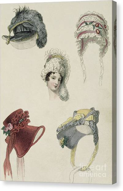 Fashion Plate Canvas Print - Day Bonnets by English School