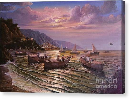Day Ends On The Amalfi Coast Canvas Print
