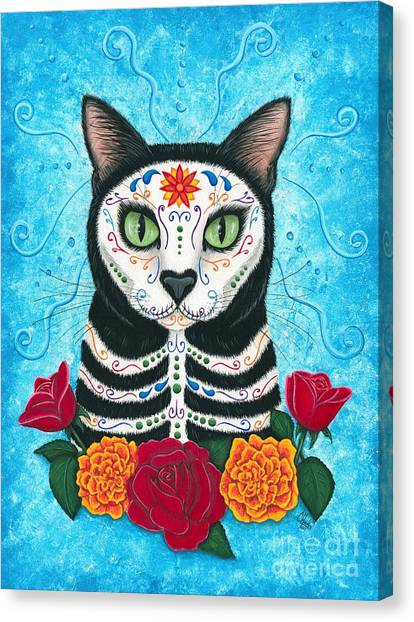Day Of The Dead Cat - Sugar Skull Cat Canvas Print