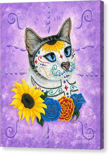 Day Of The Dead Cat Sunflowers - Sugar Skull Cat Canvas Print