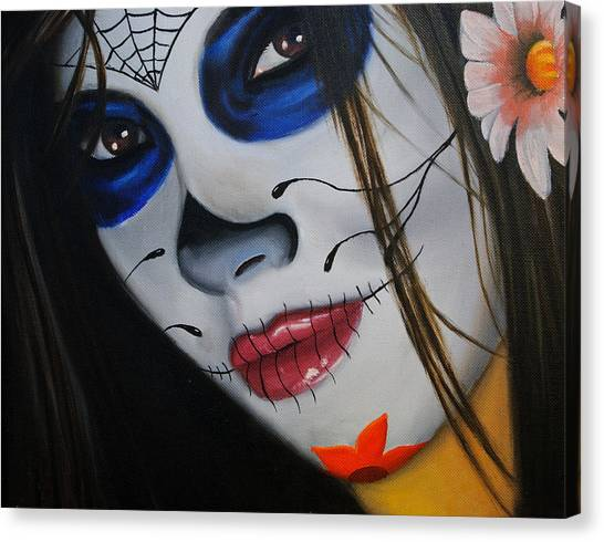 Dia Del Muerto Canvas Print - Day Of The Dead Girl by Alex Rios