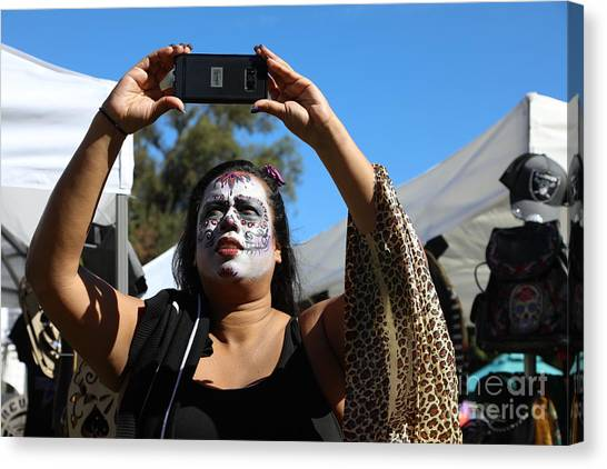 b3b49f74f5d The Skull Canvas Print - Day Of The Dead Iphone Woman by Chuck Kuhn