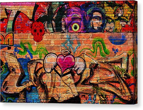 Day Of The Dead Street Graffiti Canvas Print