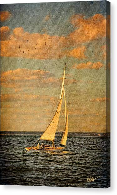 Marthas Vineyard Canvas Print - Day Sail by Michael Petrizzo