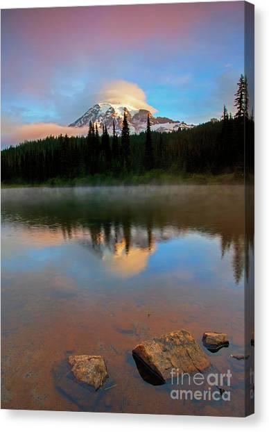 Lake Sunrises Canvas Print - Daybreak Cloud Cap by Mike Dawson