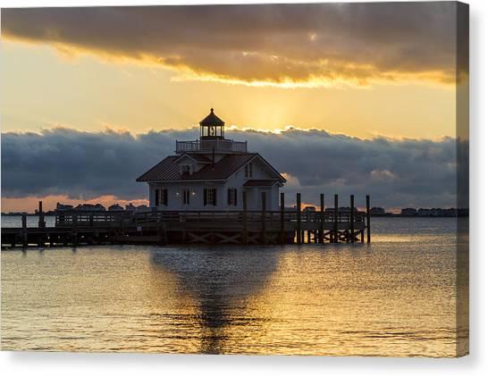 Daybreak Over Roanoke Marshes Lighthouse Canvas Print