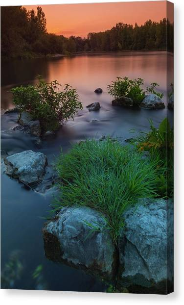 Canvas Print featuring the photograph Daybreak Over The Old Riverbed by Davor Zerjav