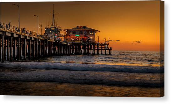 Daylight Turns Golden On The Pier Canvas Print