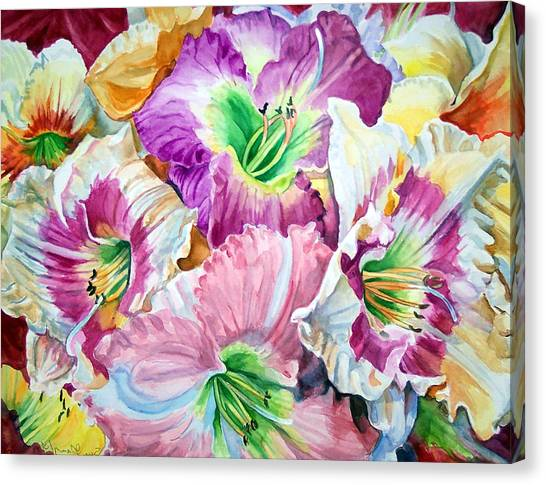 Daylilliesll Canvas Print by Bette Gray