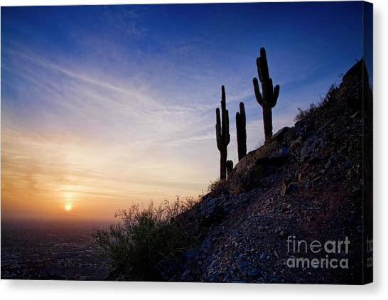 Canvas Print featuring the photograph Days End In The Desert by Scott Kemper