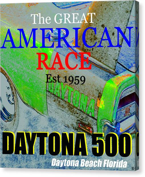 Daytona 500 Canvas Print - Daytona 500 Historic Art by David Lee Thompson