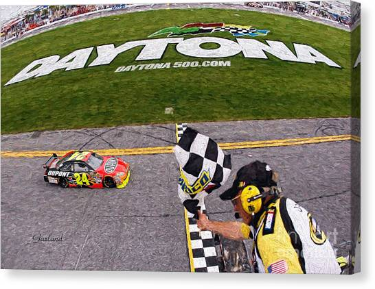 Daytona 500 Canvas Print - Daytona Speedway Winner Jeff Gordon  by Garland Johnson