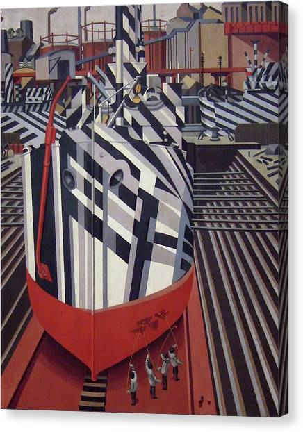Canvas Print - Dazzle Ships In Drydock At Liverpool by Edward Wadsworth