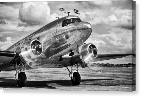 Prop Planes Canvas Print - Dc-3 Dakota by Ian Merton