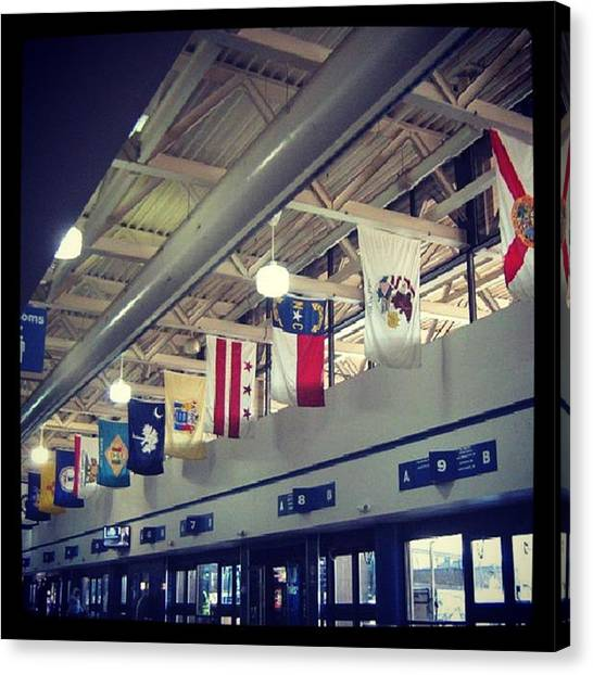 Washington Nationals Canvas Print - Dc Bus Station by Lisa Amakye-Ansah
